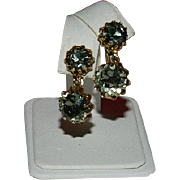 SALE Coro Smokey Rhinestone Double Drop Earrings