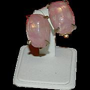 SALE Glowing Vintage Pink Art Glass Earrings