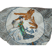 SALE Chinese Silk Scarf Lady Images by Triangle Brand