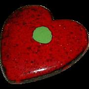SALE Hand Painted Copper Enamel Heart Pin Brooch