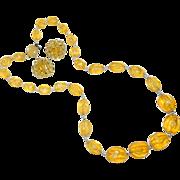 SALE Vintage Japan Import Lemon Yellow Lucite Beaded Necklace & Earrings Set