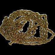 "SALE Crown Trifari Gold Plated Twist Rope Chain 32"""