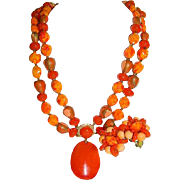 SALE Rich Oranges and Reds Hong Kong Import Faux Art Glass Lucite Beaded Necklace & Earring Se