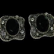SALE Estate Black Faceted Glass Framed Rhinestone Simulated Pearls Earrings