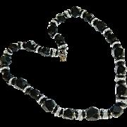 SALE Elegant Art Deco Black & Clear Faceted Lucite Necklace
