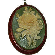SALE PENDING Folk Art Jewelry ~ Celluloid Simulated Wedgewood Cameo on Wood Pendant