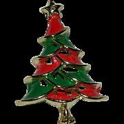 SALE 1940's Red Green Enamel Christmas Tree Brooch