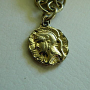 SALE Free Shipping! Old Unusual Coin Charm Bracelet ~ Roman ~ Grecian