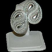 SALE Monet Omega Backs Silver Tone Paisley Runway Earrings