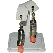 SALE Hand Carved Angel Skin Coral Sterling Silver Dangler Earrings