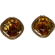 SALE Huge Givre Citrine Colored Glass Stone Earrings