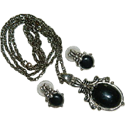 SALE Romantic Victorian Style Black on Silver Pendant & Earrings Set