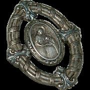 SALE Antique Religious Fine Silver Medallion Brooch Pin