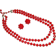 SALE Dramatic Cherry Red Faceted Hong Kong Lucite Beaded Double Strand Necklace & Earring Set