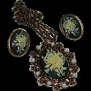 Fabulous Celluloid Floral Cameo Pendant Necklace & Earring Set