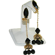 SALE Old Hollywood Glam! Long Black Rhinestone Filigree Drop Dangler Earrings ~ A