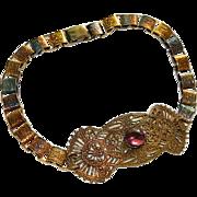 SALE Antique Brass Filigree Book Chain Choker ~ Purple Poured Glass Stone ~ A