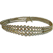SALE Unmarked Miriam Haskell Fish Scale Faux Pearl Memory Wire Choker ~A