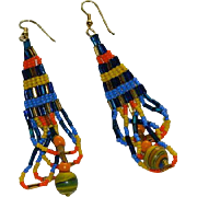 SALE Handmade Native American Seed Bead Dangler Earrings ~A