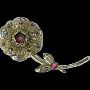 SALE Sarah Coventry Fashion Flower Brooch ~ Aurora Borealis Stones