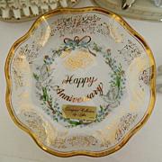 SALE Vintage Lefton Anniversary Plate ~ 14kt gold trim Crystal