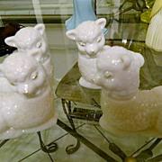"""SALE White Milk Glass Avon """"Little Lamb"""" Cologne Bottles"""