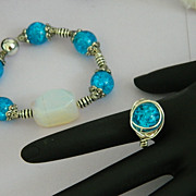 SALE Hand Made Robin Egg Blue Glass Messy Wrapped Ring Sterling Silver