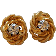 SALE Beautiful High End Vintage Rhinestone Knotted Earrings