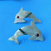 SALE FREE SHIPPING! Inlay Mother of Pearl Dolphin Earrings, Pierced!
