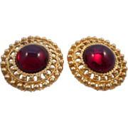SALE Vintage PAT. 2733491 1956 Designer Large RED Glass Center Gold Plated Clip Earrings