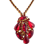 SALE 50% OFF Vintage Ruby Red Rhinestone & Molded Glass Necklace/Pendant