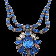 SALE Vintage SIGNED WEISSCO Art Deco Sapphire Blue Color Austrian Crystal Rhinestone Pendant .