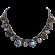SALE Vintage SIGNED WEISS Smoky Gray & Peacock Blue Aurora Borealis Austrian Crystal ...