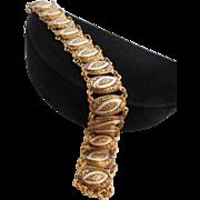 SALE Vintage Black White Damascene Book Chain Bracelet