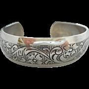 SALE Vintage SIGNED BEAU Sterling Silver Engraved Flowers Cuff/Bangle Bracelet