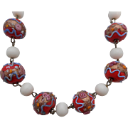 Vintage Orange/Red Wedding Cake Bead White Milk Glass Choker Necklace