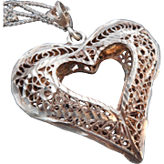 SALE Vintage Art Deco STERLING Silver Cannetille/Filigree Heart Pendant/Necklace