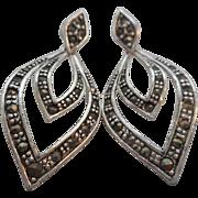 SALE Vintage Silver Plated Marcasite Pierced Post Earrings