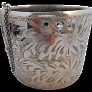 SALE Vintage Signed STERLING Silver Etched Flowers Heavy Clamper Cuff Bracelet 81.4 grams