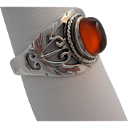 SALE Vintage Marked 925 STERLING Silver Filigree Amber Ring