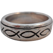 """REDUCED Vintage SIGNED 925 Christian Fish """"Ichthys"""" Spinner Wedding Band"""