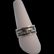 REDUCED Vintage Marked 925 STERLING Silver Enamel Greek Key Wedding Band