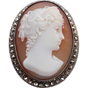 SALE Vintage Victorian Hallmarked 900 Silver & Marcasite Diana Goddess of the Hunt Shell Cameo