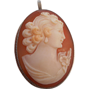 SALE Vintage Art Deco Hallmarked 900 Silver Shell Cameo Pendant Pin Brooch