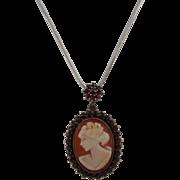 SALE Victorian Gilt Bohemian Garnet Encrusted Left Facing Shell Cameo Pendant