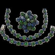 SALE Vintage SIGNED WEISS Blue Green Austrian Crystal Rhinestone Parure