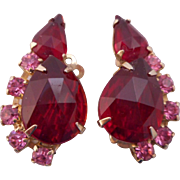SALE Vintage Ruby Red Faceted Glass Pink Rhinestone Clip Earrings