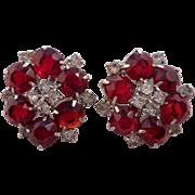 SALE Vintage Ruby Red Rhinestone Clip Earrings