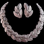 SALE Vintage SIGNED Crown Trifari Florentine Leaf Necklace Ear Climber Earrings Demi-Parure/Se