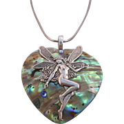 SALE Vintage Abalone Faery Heart Pendant on Sterling 925 Italy Serpentine Chain